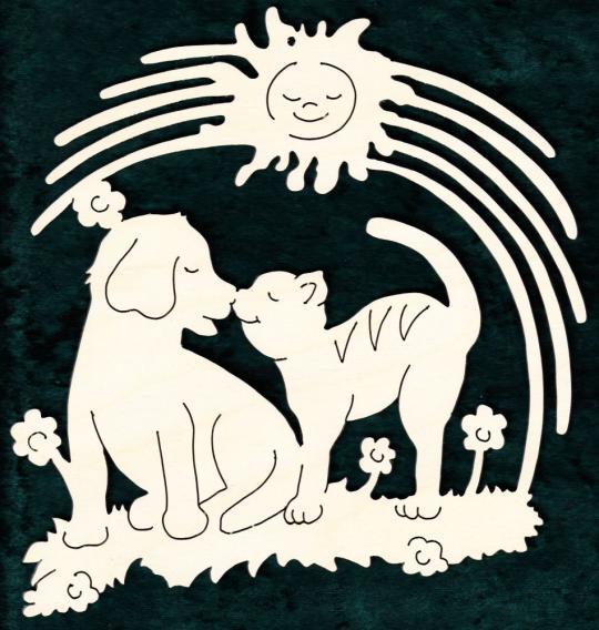 FBA 299 Hund und Katze mit Sonne