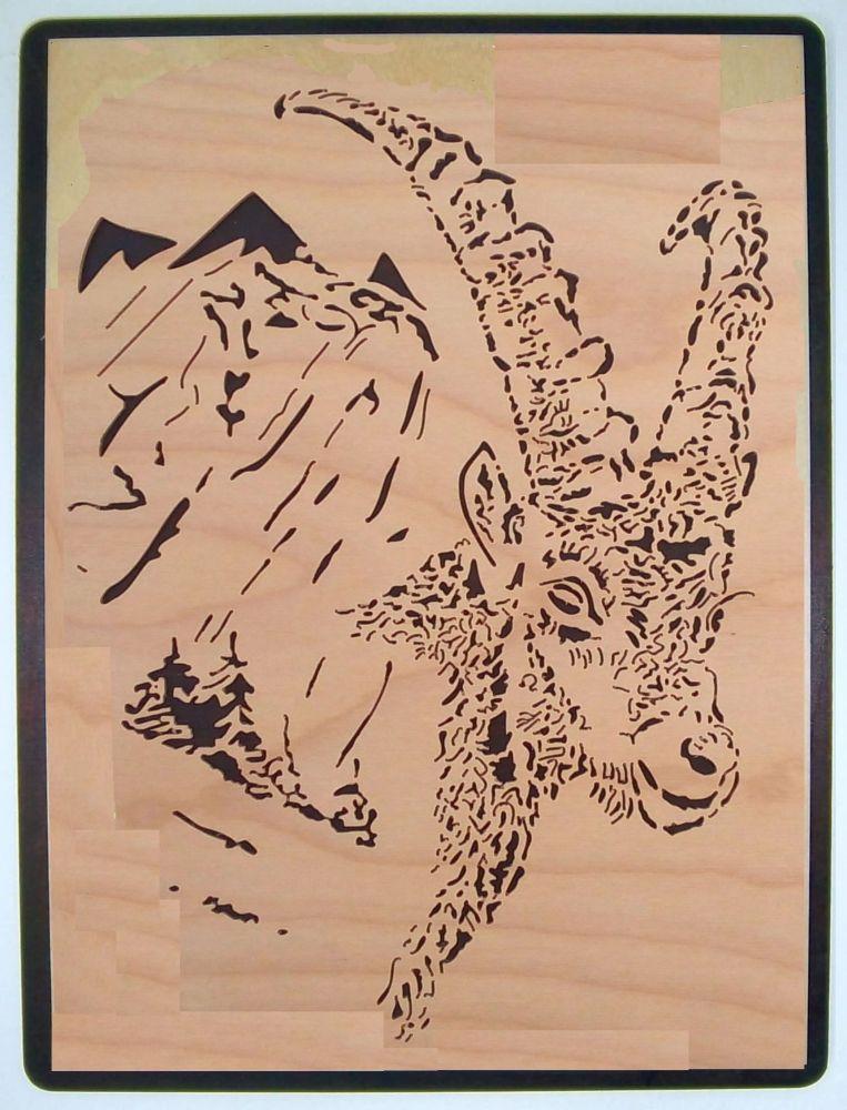 WB 037 Steinbock mit Berge