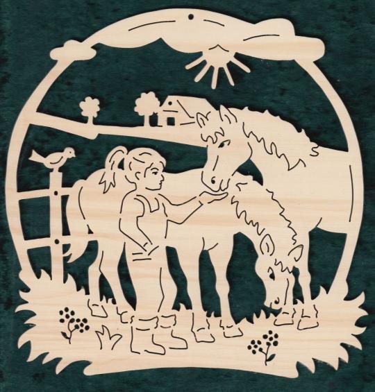 FBA 356 Mädchen mit 2 Pferde
