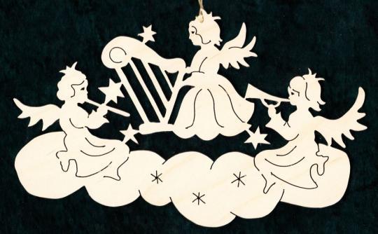 FBW 563 Wolke mit Musikengel Sternenmond mit Engel und Vogel