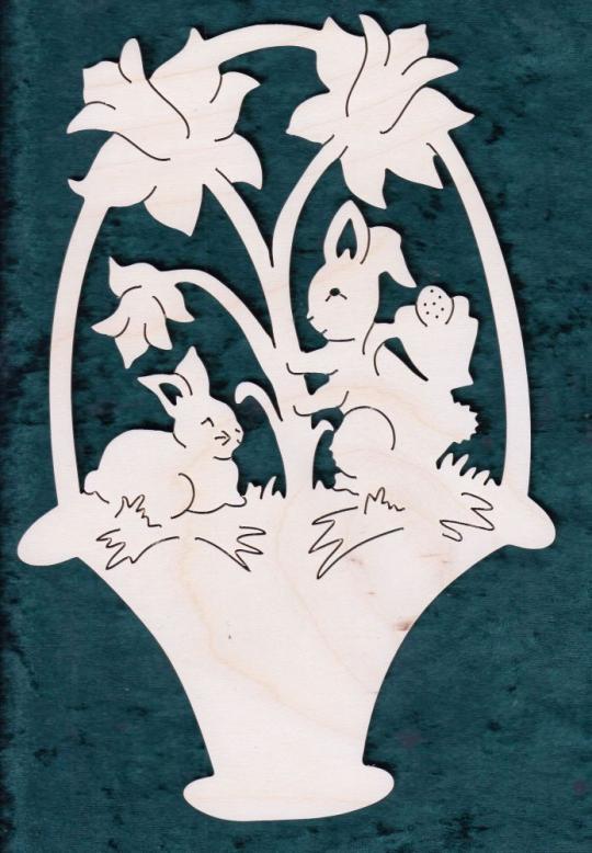FBO 030 Korb mit Hasen und Narzissen